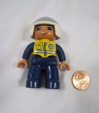"""LEGO DUPLO POLICE POLICEMAN Motorcycle Cop Man 2.5"""" Figure w/ Helmet Rare!"""