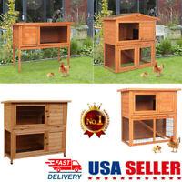 "36"" 48"" Wooden Waterproof Animal House Rabbit Hutch Chicken Coop Dog Pet Cage US"