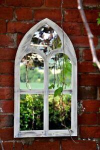 Wooden Church Style Garden Mirror.  75cm tall