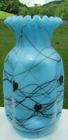 "Fenton Robert Barber 1976 Turquoise Hanging Hearts Pinch Crimped Vase 8.5""H"