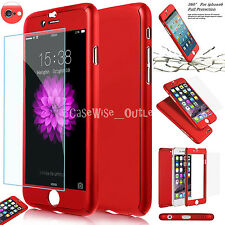 Apple Tempered Protected Hybrid Full Body Case Cover For iPhone 5 5S SE 6 & Plus