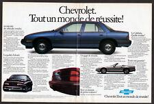 1988 CHEVROLET Corsica Vintage Original centerfold Print AD Blue car photo CA FR