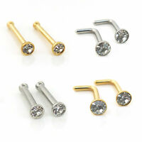 2 Stud Gold Tone 316L Surgical Steel CZ Gems Septum L Bend Nose Ring 18-20 gauge