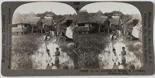Echtes Original 1930er J. Stereofoto Philippinen, Manila, Häuser am Kanal
