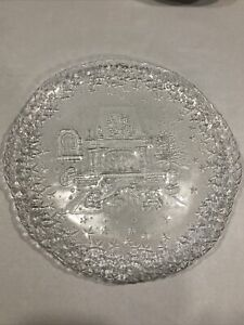 Glass Plate: Arcoroc Christmas Platter Clear Fireplace Gifts Stars - 13""