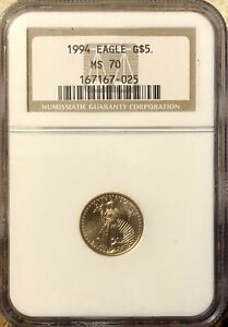 1994 $5 Gold American Eagle NGC MS70 FREE SHIPPING