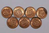 JERSEY 1/12 SHILLING 1957 - 7 COINS IN HIGH GRADE B21 YC25
