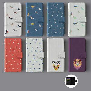 SHABBY CHIC OWL BIRDS SEAGULLS LION LEATHER WALLET PHONE CASE FOR IPHONE