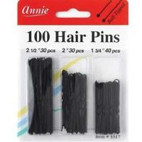 Annie Hair Pins Assorted Size BLACK 100pc