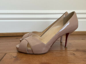 Christian Louboutin Shelly 90mm Patent Nude Crossover Open Toe Pump Heels 37