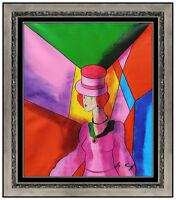 Linda Le Kinff Original Oil Painting On Canvas Signed Cubism Portrait Framed Art