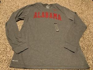 NIke Dry Alabama Crimson Tide Long Sleeve Shirt Gray Men's Size: XL NWT