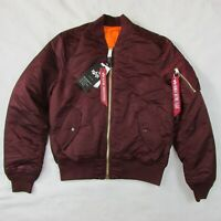 Alpha Industries MA-1 Bomber Jacket Maroon Slim Fit Men's Large NWT