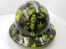 Hard Hat FULL BRIM custom hydro dipped , OSHA approved LIME GREEN SPANISH LOLITA