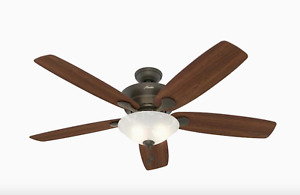Hunter Regalia 60-in New Bronze Incandescent Indoor Ceiling Fan with Light Kit