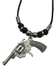 REVOLVER HAND PISTOL GUN  PENDANT ROPE NECKLACE beads 18 IN mens womens NEW #571
