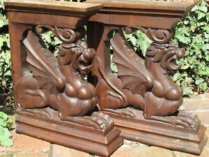 1 pair of dragon - chimera - console holder, hand-carved around 1860.