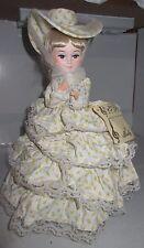 "Vintage Bradley Paper Mache Doll Big Eye Girl 11"" Home on Range Musical Spinning"