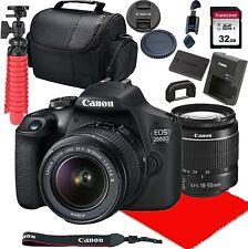 Canon EOS 2000D / Rebel T7 with EF-S 18-55mm III Lens + 32GB SD + BATT Bundle