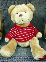 "16"" Aeropostale Plush Stuffed Brown Teddy Bear Aero Red & White Knit Sweater"