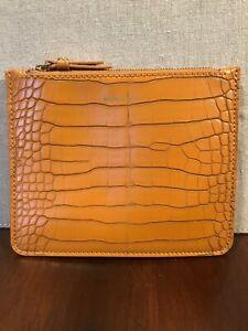 ANNE KLEIN Zip Coin / Cash Faux Gator Wallet NWOT (Mustard Gold)