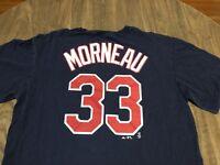Justin Morneau 33 Minnesota Twins MLB Baseball Majestic Large Navy Blue T Shirt