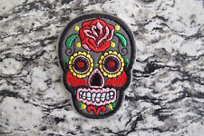 #5111C  Grey Sugar Skull Biker Motorcycle Embroidery Iron On Appliqué Patch