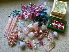 Vtg Pink Victorian Christmas Ornament Lot Garland Lights Picks Glass Icicles