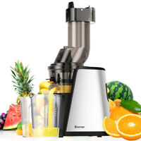 Slow Masticating Juicer Cold Press Extractor Stainless Steel Wide Chute w/Brush