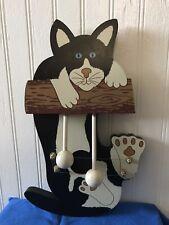 Vintage Wooden Cat Door Chime Harp Bell Door Cat Hanger