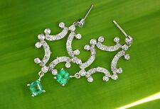2.68tcw Colombian Emerald & Diamond Chandelier Earrings White Gold 14K