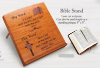 "BIBLE STAND Laser Cut Psalm Scripture Mahogany Wood 9"" x 9"" Standing Plaque"