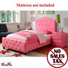 Pink Upholstered Twin Bed Girls Bedroom Platform Furniture Headboard Princess