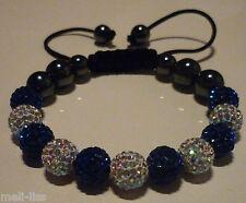 New Shamballa Blue and Clear Czech Crystal Bracelet - Bangle