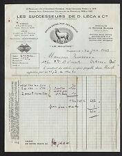 """MARSEILLE (13) SAVONNERIE / SAVON Le Mouton """"Successeurs de D. LECA & Cie"""" 1937"""