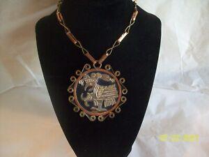 MEXICAN Copper & Mixed Metal Pendant Mayan Aztec BIRD Long NECKLACE Vintage