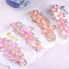 1X Women Girls Crystal Rhinestone Flower Barrette Hair Clip Clamp Hairpin  SN