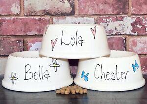 medium slanted dog food bowl hand painted personalised ceramic dog bowl feeder