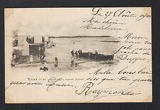 ROYAN (17) CABANON , TENTES de PLAGE , BAINS à LA GRANDE CONCHE animée en 1901