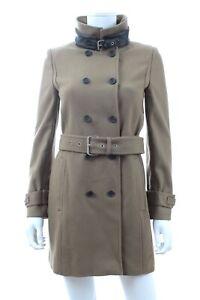 The Kooples Leather-Trimmed Wool Coat / Khaki