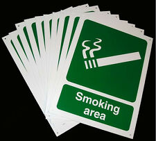 Job Lot -10 x SMOKING AREA Sign Large 300 x 400 mm PVC Wall Plaque Office Work