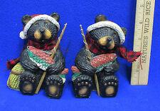 Pair Resin Black Bear Figurines Salmon Trout Fishing Pole Basket Plaid Scarf Hat