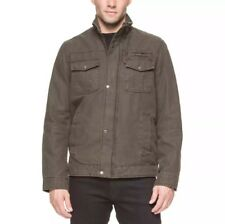 New Levi's Men's Full Zip Cotton Canvas Jacket with Knit Collar-Olive