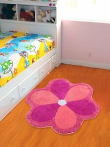 Microfiber Pink Abstract Standard Size Round 1Pc Flower Bathmat,Multipurpose Use