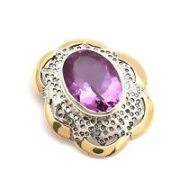 "Solid 925 Sterling Silver Amethyst Quartz Gemstone Jewelry Pendant 1"""