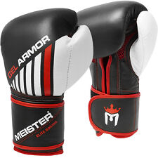 MEISTER 16oz GEL ARMOR TRAINING BOXING GLOVES - Leather Title Heavy Bag Mitts