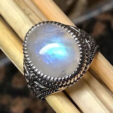 Natural Rainbow Moonstone 925 Sterling Silver Solitaire Art deco Men's Ring sz 9