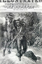 SITTING BULL on WAR-PATH Hiding Tracks in Stream 1871 Engraving Matted w STORY