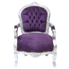 CHILDREN BAROQUE STYLE CHAIR SILVER / PURPLE  # F11MB45