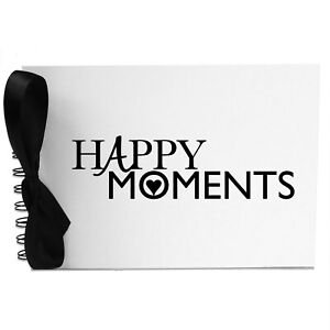 Ribbon, Happy Moments, Photo Album, Scrapbook, Blank White Pages, A5
